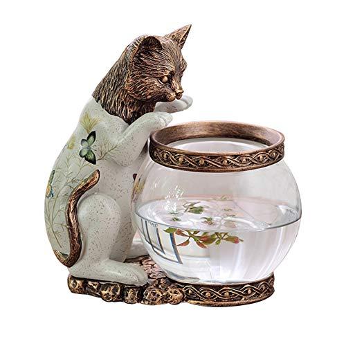 Fitlyiee Antiqued Cat Design Glass Fish Bowl Terrarium Decorative or Candle Holder Tabletop Aquarium with Plant Baskets (Bronze)