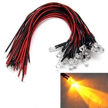 LAOMAO 1 Pack 20 Ampoules 5mm 12V DC Red LED Pre-Wired Round Top ampoule pour bricolage voiture jouets de bateaux Parties