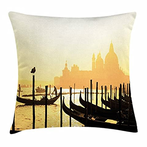 Venice Throw Pillow Cushion Cover by Ambesonne, Romantic Italian City at Sunrise Line of Gondolas Lagoon and Basilica Silhouette, Decorative Square Accent Pillow Case, 16 X 16 Inches, Mustard - Italian Mustard