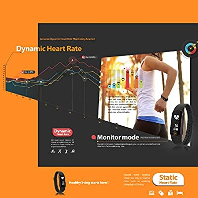 Comcome Waterproof Touch Screen Heart Rate Monitor and Activity Tracker Wristband, Bluetooth Sport Bracelet with Multi-Functions for IOS/Andriod System