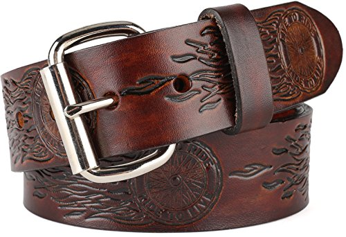 Men's Top Grain Western leather Belt,easy to change Roller buckle,1.5