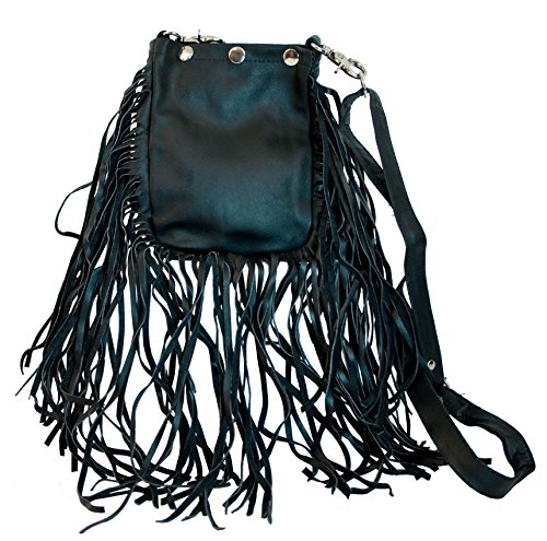 Small Fringed Leather Black Hobo Bag with Adjustable Cross-body (Embroidered Leather Hobo Bag)