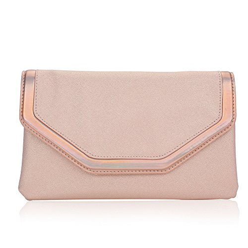 Classic PU Leather Evening Clutch,WALLYN'S Party Purse Evening Bag With Chain Strap(Pink) ()