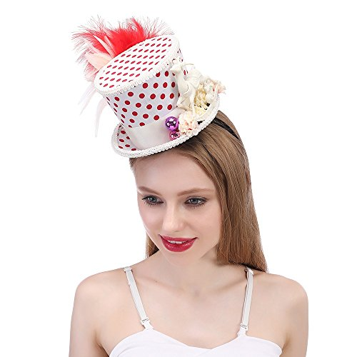 BEIXI Red and White Hat, Holiday Hat, Micro Miniskirt Top Hat Snowflake Christmas Hat (Color : White, Size : 25-30CM)]()