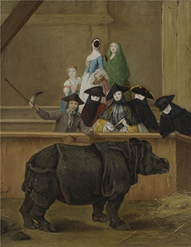Oil Painting 'Pietro Longhi Exhibition Of A Rhinoceros At Venice ' Printing On Polyster Canvas , 16 X 21 Inch / 41 X 52 Cm ,the Best Game Room Gallery Art And Home Decoration And Gifts Is This Reproductions Art Decorative Prints On Canvas