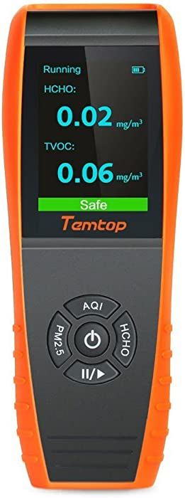 Temtop LKC-1000S+ Air Quality Monitor Formaldehyde Detector, Air Pollution Sensor, Humidity and Temperature Meter Tester with PM2.5/PM10/HCHO/AQI/Particles/TVOC VOC/Histogram