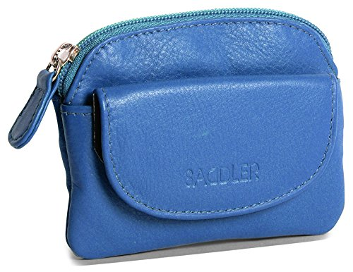 ric Blue Compact Soft Nappa Leather Zip Top Coins & Key Purse with Front Flap Pocket ()