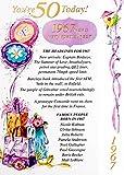 """Simon Elvin Carte 50ème anniversaire pour femme Motif à pois Inscription """"1966 Was A Very Special Year Rose"""" [Texte en anglais]"""