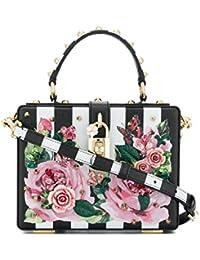 Women's BB5970AS178HWI10 White/Black Leather Handbag