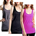 BollyQueena Women Activewear Racerback Tank Long Exercise Running Top 1/3 Pack