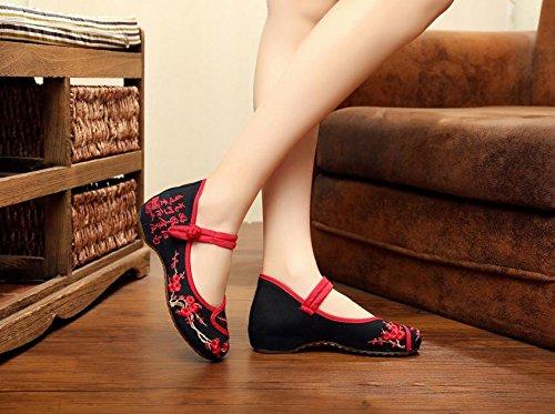 &QQ Zapatos bordados, lino, lencería, estilo étnico, zapatos femeninos, moda, cómodo, zapatos de lona Black
