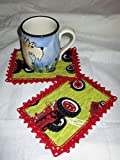 SET OF 2 INTERNATIONAL FARMALL MCCORMICK TRACTOR MUG RUGS WITH RED CROCHETED EDGING