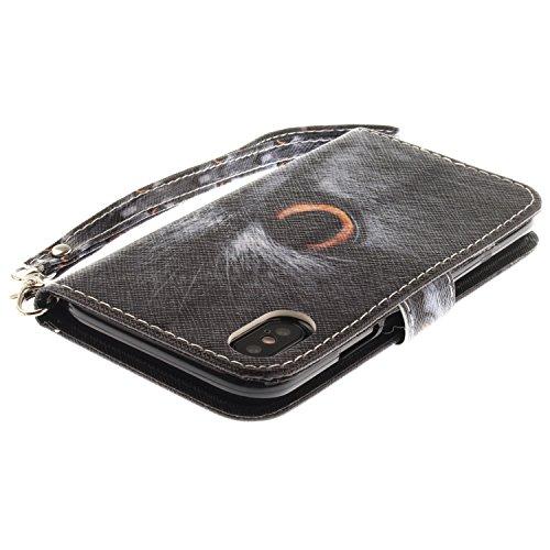 Funda iPhone X,SainCat Funda de cuero sintético tipo billetera con correa de cordón de Suave PU Carcasa Con Tapa y Cartera,Ranuras para Tarjetas y Billetera Funda de Flip Ranuras Tarjeta Slots Función Gato medio rostro