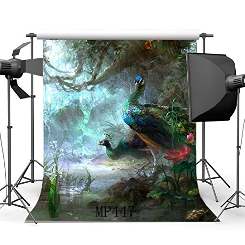 Gladbuy Peacock Backdrop 5X7FT Vinyl Enchanted Garden Backdrops Fairytale Landscape Jungle Forest Old Tree River Fantasy Photography Background for Girls Room Wallpaper Photo Studio Props MP447