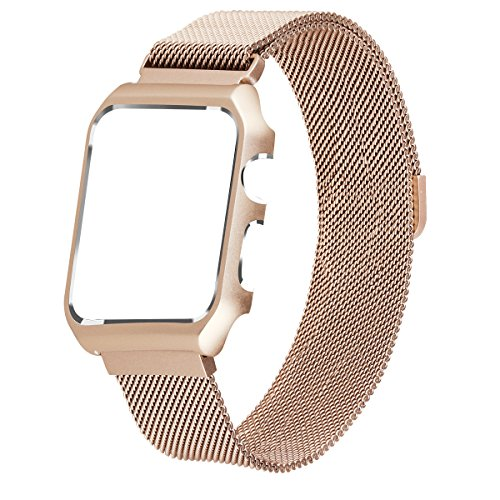 For Apple Watch Band Milanese Loop,LikeItY Stainless Steel Magnetic Band with Metal Case for Apple Watch Series 1/2 - Shockproof Protective Bumper Replacement Strap(38mm Retro Gold) (Womens Heart Series Watch)