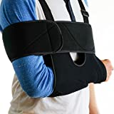 Medical Arm Sling Shoulder Brace - Best Fully Adjustable Rotator Cuff and Elbow Support - Includes Immobilizer Band for Quick Recovery - for Men and Women (Large)