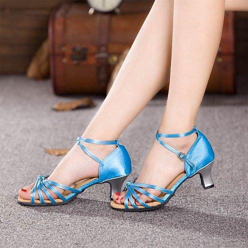 Mujer T Baile Azul de Azul Q Zapatos Talón Cubano Satén T AZqXZ
