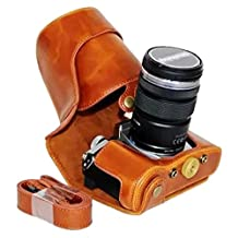 Clanmou EM5 II Protective Leather Camera Case Bag for Olympus OM-D E-M5 Mark II 12-40mm or 40-150mm Camera Lens with Camera Shoulder Strap Brown