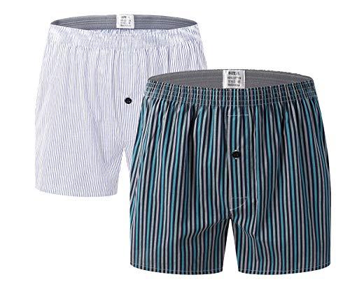 Admireme Men's Boxer Shorts Cotton Low Rise Woven Boxers Classic Plaid Underwear with Button Fly (Boxer Classic Plaid Mens)