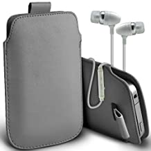 ( Grey + Earphone ) Motorola Moto G (2014) G2 2nd generation Protective Stylish Fitted Faux Leather Pull Tab Pouch Skin Case Cover With Premium Quality in Ear Buds Stereo Hands Free Headphones Headset with Built in Microphone Mic and On-Off Button by ONX3