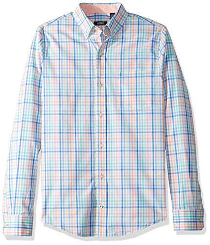 (IZOD Men's Slim Fit Button Down Long Sleeve Stretch Performance Check Shirt, Melon, Large Slim)