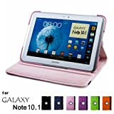 Samsung Galaxy Note 10.1 Case, GMYLE(R) Folio Case 360 for Samsung Galaxy Note 10.1 N8000 - Pink PU Leather 360 Degree Rotating Swivel Folio Case Cover (With Adjustable Multi Angle Stand)