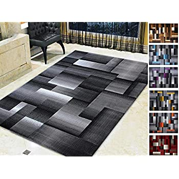 Amazon Com Handcraft Rugs Silver Black And Gray Abstract