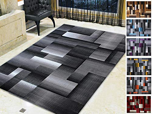 Handcraft Rugs Silver/Black and Gray Abstract Geometric Modern Squares Pattern Area Rug 5 ft. by 7 ft. ()