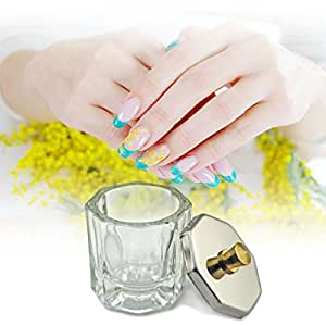 Rolabling Glass Crystal Dappen Dish with Metal Lid Nail Art Acrylic Powder Nail Art Tools (size-2)