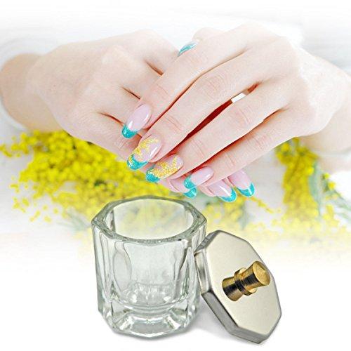 Rolabling Glass Crystal Dappen Dish with Metal Lid Nail Art Acrylic Powder Nail Art Tools (size-2)