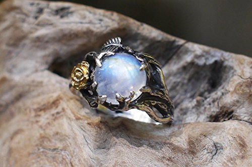 Sterling Silver Rainbow Moonstone Ring ''Cleo'' MADE TO ORDER, moonstone engagement ring, delicate ring, flower ring, rose ring, promise ring, wedding ring by BlackTree