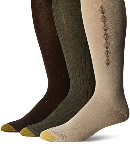 - Gold Toe Men's Over The Calf Dress Socks, 3 Pairs, khaki/olive/brown, Shoe Size: 6-12.5