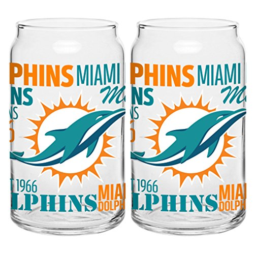 NFL Miami Dolphins Spirit Glass Can, 16-ounce, - Miami Glass Shop