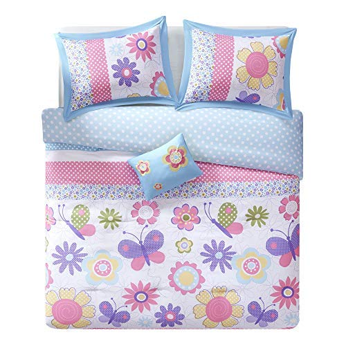 Comfort Spaces - Happy Daisy Kid Comforter Set - 4 Piece - Butterfly & Floral - Blue Pink - Queen Size, Includes 1 Comforter, 2 Shams, 1 Decorative Pillow
