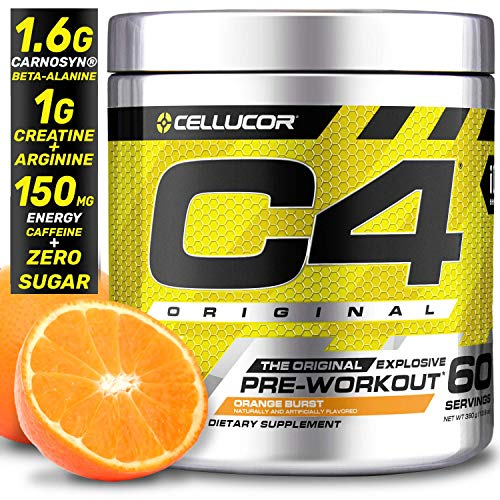 Cellucor C4 Original Pre Workout Powder Energy Drink Supplement For Men & Women with Creatine, Caffeine, Nitric Oxide Booster, Citrulline & Beta Alanine, Orange Burst, 60 Servings