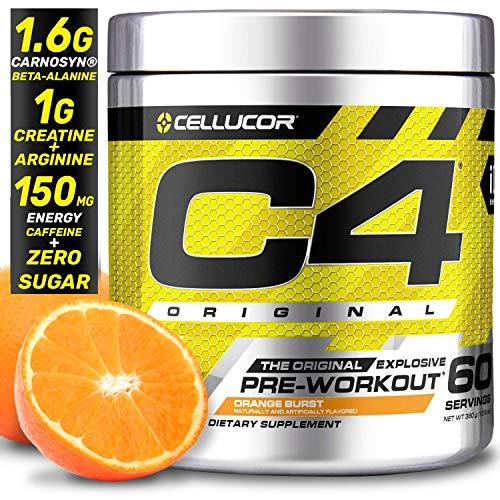 Cellucor C4 Original Pre Workout Powder Energy Drink Supplement For Men & Women with Creatine, Caffeine, Nitric Oxide Booster, Citrulline & Beta Alanine, Orange Burst, 60 Servings (Best Men's Energy Supplement)