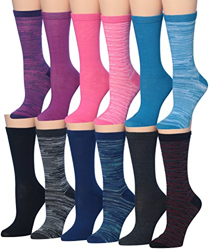 Tipi Toe Women's 12-Pairs Space Dye Patterned Colorful Crew Socks, (sock size 9-11) Fits shoe size 5-9, WC19-AB