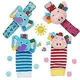 Daisy Baby Rattle, 4 Packs Adorable Animal Infant Baby Wrist Rattle & Foot Finder Socks Set, Pink Pig and Elephant Developmental Toys Set - Wonderful Baby Gift
