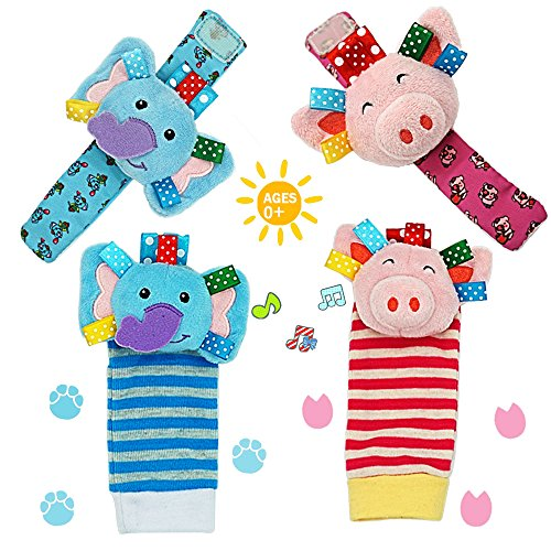Daisy Baby Rattle, 4 Packs Adorable Animal Infant Baby Wrist Rattle & Foot Finder Socks Set, Pink Pig and Elephant Developmental Toys Set - Wonderful Baby Gift by Daisy's Dream