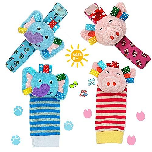 Pig Rattle - Daisy Baby Rattle, 4 Packs Adorable Animal Infant Baby Wrist Rattle & Foot Finder Socks Set, Pink Pig and Elephant Developmental Toys Set - Wonderful Baby Gift