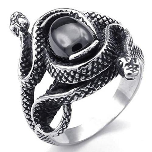 Beydodo Stainless Steel Ring (Punk Bands) Retro Double Snake Biker Black Silver Width 26mm Size 13