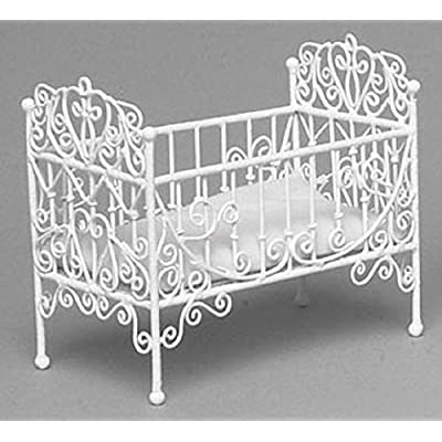 Town Square Miniatures Dollhouse Baby Crib, White Wire: Toys & Games