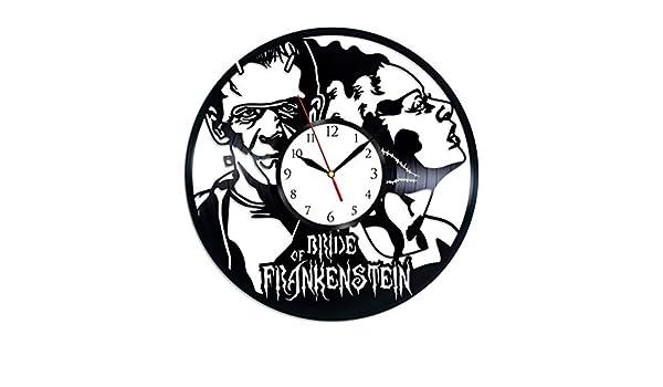 Bride of Frankenstein Vinyl Clock Wall Clock Vinyl Record Clock Halloween CLock Wall Vinyl Clock Vinyl Kitchen Clock