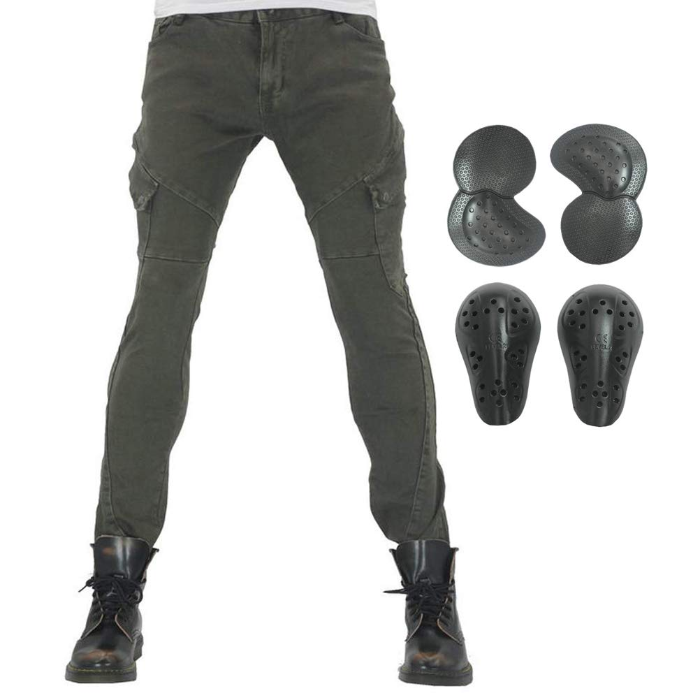 Men Women Motorcycle Riding Jeans Protective Pants Knight Hockey Biker Armor Pants (L=32, Army Green)