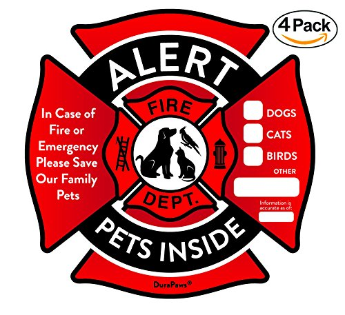 Pet Alert Stickers – Save My Pets in Case of Emergency Stickers – Inside the Window Static Cling Window Decals 4 Pack – UV Resistant Removable, NO Adhesive - Bonus: Pet Alert Wallet Card - Bird Dog Sign