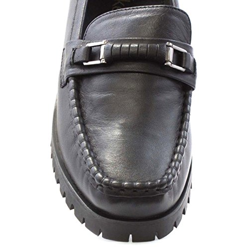 Dr Keller Womens Black Leather Loafer Shoe Black LuxySP6