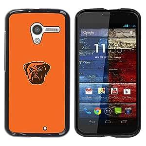 Bulldog fresca enojado - Metal de aluminio y de plástico duro Caja del teléfono - Negro - Motorola Moto X 1 1st GEN I
