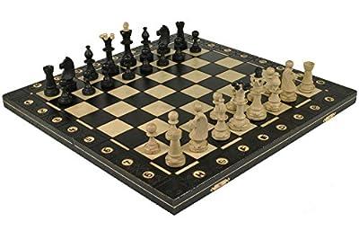 "BLACK SENATOR HANDCRAFTED TOURNAMENT WOODEN CHESS Board 16 x 16""- Chessmen Weighted"