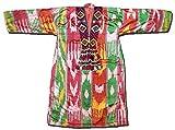 RARE UZBEK-KUNGRAT HAND-EMBROIDERED SILK IKAT WOMEN'S CHEMISE DRESS BOYSUN A8774