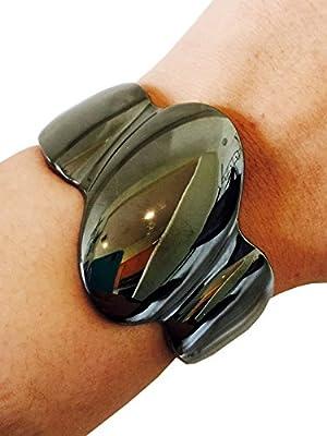 Fitbit Bracelet for FitBit Flex Activity Tracker - The HALLY Shiny Hematite Hinge Fitbit Bracelet